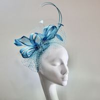 13967 Pretty Caraibe Blue Mother of the Bride/Groom fascinator SD636/7
